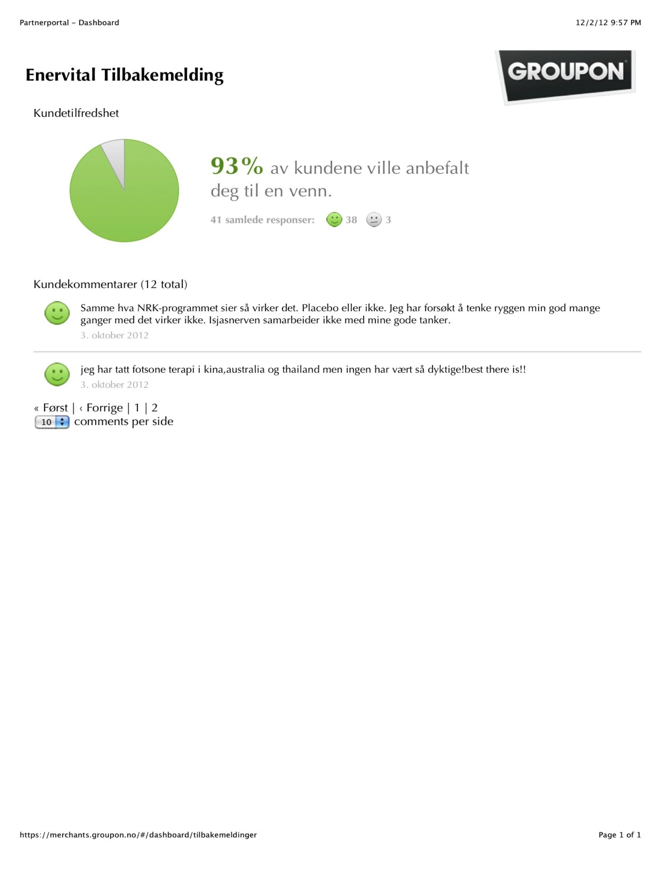 93% customer satisfaction